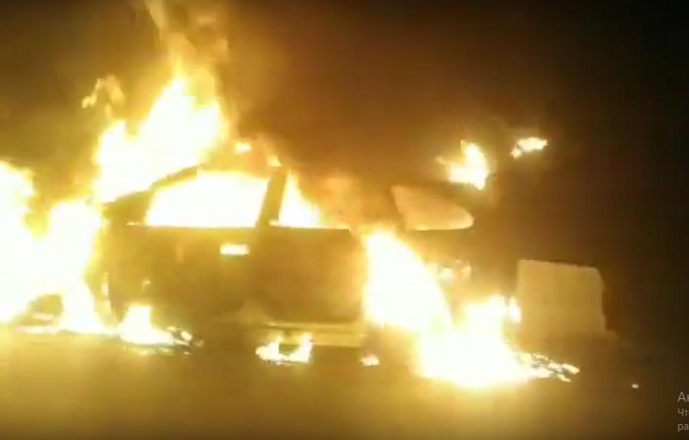 Ала-Бел ашуусунда автоунаа өрттөнүп кетти – видео