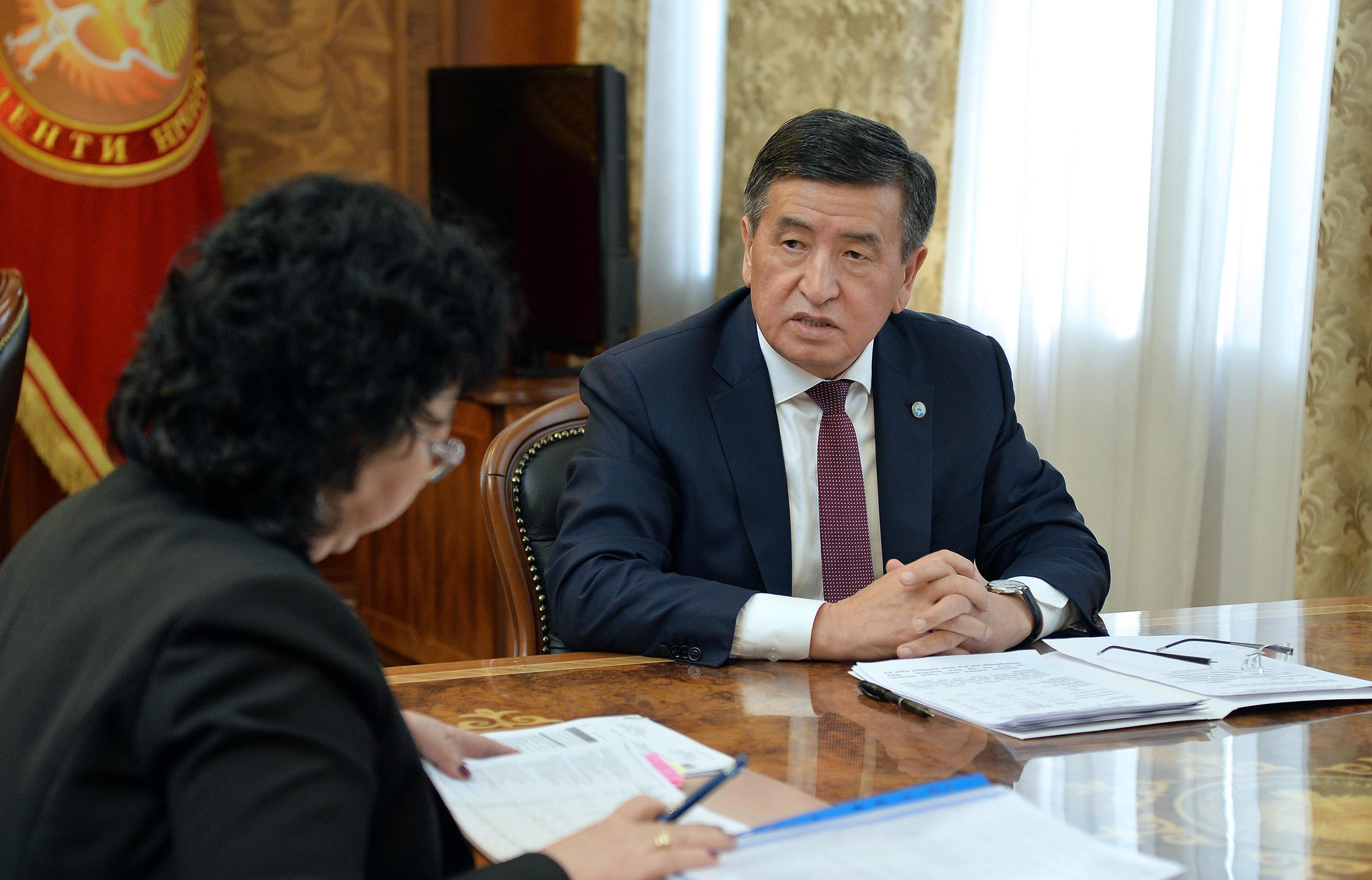 Президент каржы министри Бактыгүл Жээнбаеваны кабыл алды