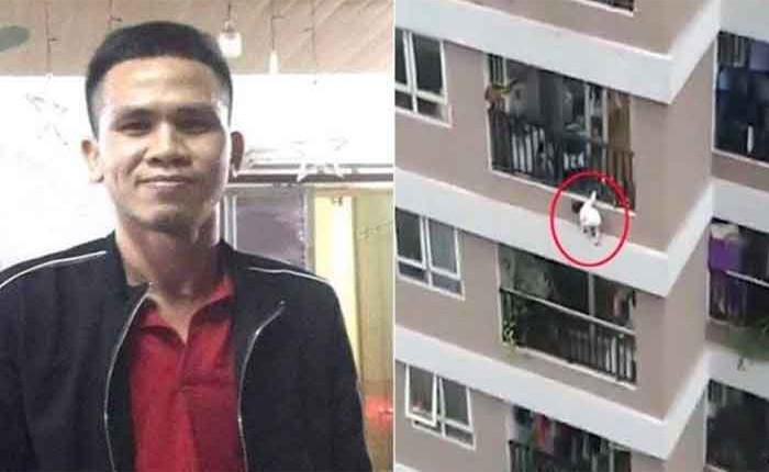 Вьетнамда 12-кабаттан кулаган баланы курьер сактап калды — ВИДЕО