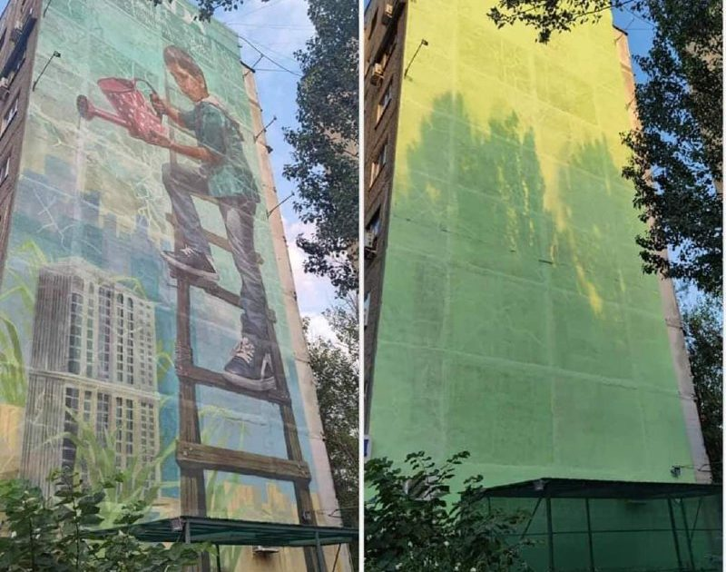 В Бишкеке закрасили мурал «Мальчик с лейкой»